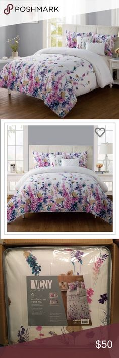 Twin XL Comforter Set Brand new in box twin XL floral comforter set! Comes with Comforter, 1 Standard Sham, and 2 Decorative Pillows! Please feel free to make me an offer! VCNY Home Other