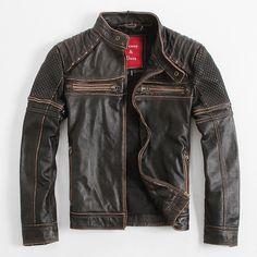 Find More Leather & Suede Information about Denny Dora Vintage Men's Leather…