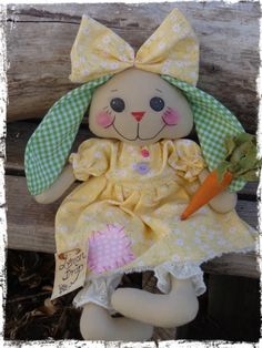 Primitive Bunny Rabbit Doll Easter Bunny Rag by CountryLifeisBest