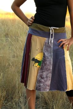 Eco/Upcycled Skirt - Into the Wild- Size L (10-12)