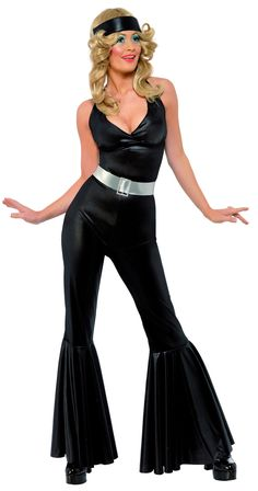 70/'s Disco Diva Fever Babe Catsuit Glamour Womens Ladies Fancy Dress Costume