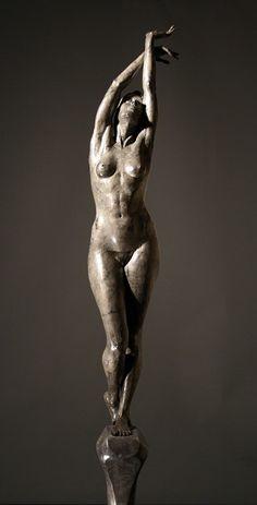 """Lily, Lily, Rose""  Artist: Matthew Davey  bronze, wood, stone  84 "" x 36 "" x 36 """