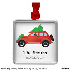 Boxer Dog Driving car w/ Christmas tree on top Square Metal Christmas Ornament