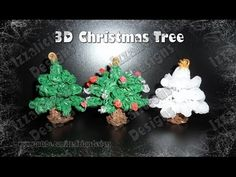 Rainbow Loom 3D CHRISTMAS / HOLIDAY TREE. Designed and loomed by Kate Schultz at Izzalicious Designs. Click photo for YouTube tutorial. 06/29/14.