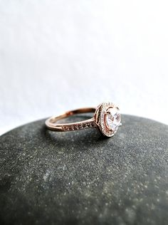 Rose Gold Fill engagement ring  pink gold ring by laplumeblanche