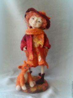 """Купить Войлочная композиция """"Рыжая осень"""" - рыжий, авторская кукла, осенний подарок, рыжий кот"""