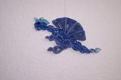 Quilled Blue Dragon Ornament. Find me on Facebook and Etsy! ~ Kate's Paper Crafts