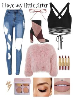 A fashion look from December 2016 featuring tie top, fur bolero and distressed denim jeans. Browse and shop related looks. Charlotte Simone, Lil Sis, Distressed Denim Jeans, Elizabeth And James, Little Sisters, Urban Decay, Avon, Fashion Looks, Polyvore