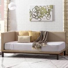 Featuring a clean-lined silhouette accented by nail head trim, the Mid-century Daybed is an ideal venue for a post-work nap or movie marathon. Place it in your living room, office, or den for a relaxe Trundle Mattress, Twin Daybed With Trundle, Small Daybed, Home Decor Bedroom, Bedroom Furniture, Apartment Furniture, Bedroom Office, House Furniture, Modern Bedroom