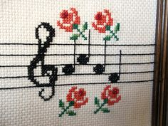 Vintage Cross Stitch in distressed wooden frame  by eagerhands, $6.00