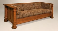 Amish Mission Arts and Crafts Sofa Couch Upholstered Solid Wood Back Surround #NewHickoryWholesale #ArtsCraftsMissionStyle