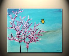 Cherry blossom painting.  My mom painted this at sips n strokes and it would be great to hang in her room.