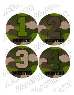Army Camouflage Monthly Onesie Stickers Boy
