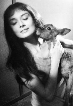 Audrey Hepburn on set of 'Green Mansions' with her pet deer, Ip, 1959.