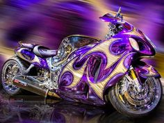 Crazy colors … Suzuki Hayabusa pinned onto Motorcycles Board in Cars & Motorcycles Category Suzuki Hayabusa, Purple Motorcycle, Harley Davidson, Course Moto, Side Car, Custom Sport Bikes, Suzuki Motorcycle, Motorcycle Cake, Motorcycle Jeans