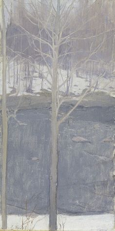 Aspens, 1893  Ellen Thesleff  Finnish, 1869-1954  Oil on canvas, 54.5 x 27.5 cm  Ateneum Art Museum