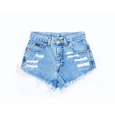 High Waisted Jean Shorts High Waisted Cutoffs Denim Cheeky All Sizes... ($29) ❤ liked on Polyvore featuring shorts, bottoms, jeans, pants, light blue, women's clothing, denim cutoff shorts, high rise jean shorts, high-waisted shorts and denim short shorts