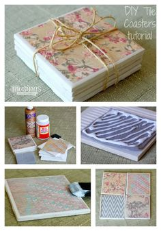 DIY Tile Coasters - check out how easy and fun (and CHEAP!) it is to make your own tile coasters - great DIY gift idea! happydealhappyday.com