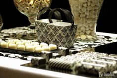 Black & white wedding party dessert table! See more party planning ideas at CatchMyParty.com!