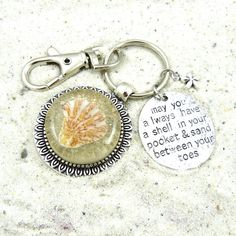 Seashell Keychain / Purse Charm / Zipper Pull Jewelry with Beach Sand and Shell from Sanibel Florida