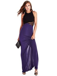 Make an entrance at your next event in this seductively modern gown. Featuring a color-blocked design, sheer mesh details and faux-leather straps Blue Maxi Dress
