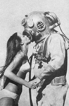 strange dark vintage pics | vintage Black and White odd weird kiss astronaut space strange funny