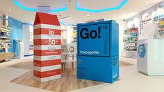 Giant packaging recreation for drug store decoration. Designed by Eduardo del Fraile and produced in cardboard by Cartonlab. #drugstoredecoration #storedecoration