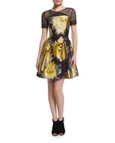 Short-Sleeve+Sunflower+Cocktail+Dress,+Yellow/Black+by+Carolina+Herrera+at+Neiman+Marcus.