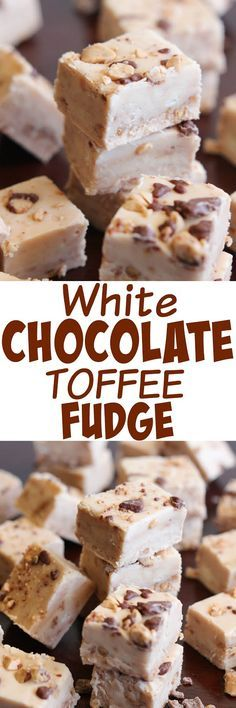 Chocolate Toffee Fudge White Chocolate Toffee Fudge - this divine fudge will melt in your mouth.White Chocolate Toffee Fudge - this divine fudge will melt in your mouth. Fudge Recipes, Candy Recipes, Sweet Recipes, Köstliche Desserts, Delicious Desserts, Dessert Recipes, Plated Desserts, Homemade Fudge, Homemade Candies