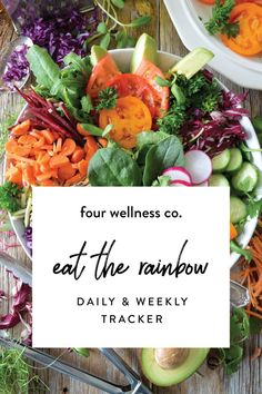 Eat the Rainbow: daily & weekly fruit & vegetable tracker // Healthy eating tip: eat more fruits & veggies with this tracker designed to make a healthy diet easier to plan and track. // Get the free tracker + more simple nutrition tips at fourwellness.co/eat-the-rainbow #nutrition #veggies #healthyeating #healthyeatingtips