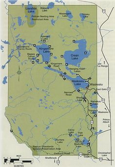 Map of Prince Albert National Park showing main roads, campgrounds and trails. Canadian Prairies, Forest And Wildlife, Nature Sauvage, National Parks Map, Hills And Valleys, British Colonial Style, Parks Canada, Largest Countries, Prince Albert