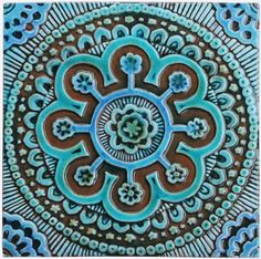 Ceramic wall art.  Suzani #2.  Turquoise.   Hand made tiles & architectural ceramics. www.gvega.com.