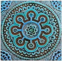Ceramic wall art.  Suzani #2.  Turquoise.   Hand made tiles & architectural ceramics. www.gvega.com.