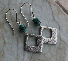 Silver Wildflower Earrings Turquoise by PrairieSmokeJewelry