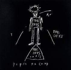 From Alpha 137 Gallery Auction, Jean-Michel Basquiat, The Offs (ca. Vinyl record and offset lithograph album cover art by Jean-Michel Basquiat. Jm Basquiat, Jean Michel Basquiat Art, Basquiat Tattoo, Essayist, Keith Haring, Banksy, Graffiti Kunst, Raymond Pettibon, Pop Art