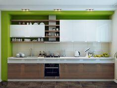 armoires de cuisine en bois et blanc avec murs verts