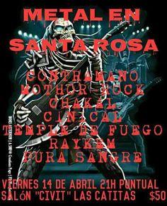 METAL EN SANTA ROSA NO TE PODÉS PERDER TERRIBLE NOCHE !!!! TE ROGAMOS PUNTUALIDAD PARA PODER DISFRUTAR DE TODAS LAS BANDAS Y CUMPLIR CON EL HORARIO MUNICIPAL!!!... http://sientemendoza.com/event/metal-en-santa-rosa/