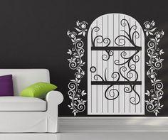 Vinyl Wall Decal Sticker Wooden Door with Vines by Stickerbrand
