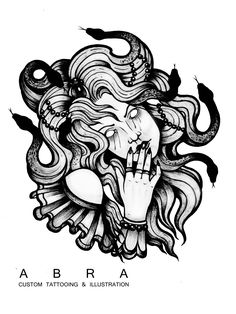 #tattoodesign #tattooidea #gorgona #tattoo #illustration #blackink #tattoosketch #snakes #abra