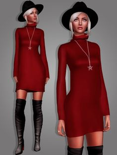 Sims 4 CC's - The Best: Long Sweater Dress and Star Necklace by MariaMaria...