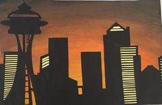 Cityscape Positive And Negative, Negative Space, Skyline Silhouette, Student, Movies, Movie Posters, Art, Art Background, Films