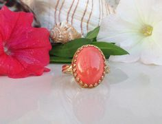 Coral Ring  Genuine Gemstone  Oval Crown Ring  by HolyLandChic