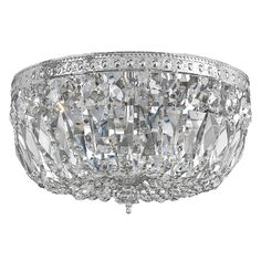 This elegant flush mount lighting fixture features a fantastic chrome finish. Light is filtered through gorgeous hand polished crystal accents, setting a classy tone that will complement any home decor.