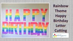 rainbow theme happy birthday paper cutting