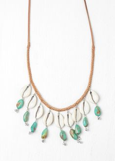 Bohemian Beach Turquoise Necklace with Cowrie Shells by SoulMakes.com