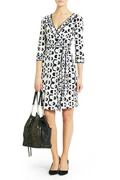 Wrap dresses look great on most body types! This #DVF Banded Julian Silk Jersey Wrap Dress is a great addition to any summer work wardrobe! Avoid showing too much cleavage by wearing a cami underneath.