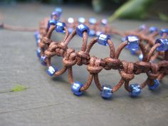 Stacked Brown Macramé Bracelets with Lavender Blue Beads