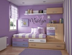 THE BED SYSTEM, name on the wall, shelves and drawers.