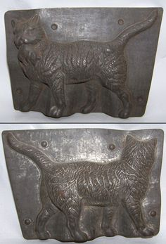 "cat chocolate mold, H. Walter, Berlin, #2609 (5"" H. x 7"" W)"