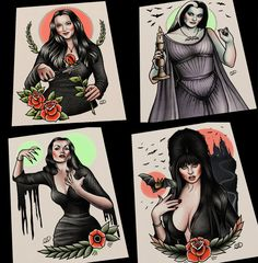 Full 4 piece set of the Lovely Ladies. Morticia Adams, Lily Munster, Elvira, Vampira traditional tattoo art flash prints Choose your size option in the drop down menu.Prints are printed on Epson Ultra Premium Presentation Paper MATTE (10 mil). Paper is a heavyweight, non-gla...